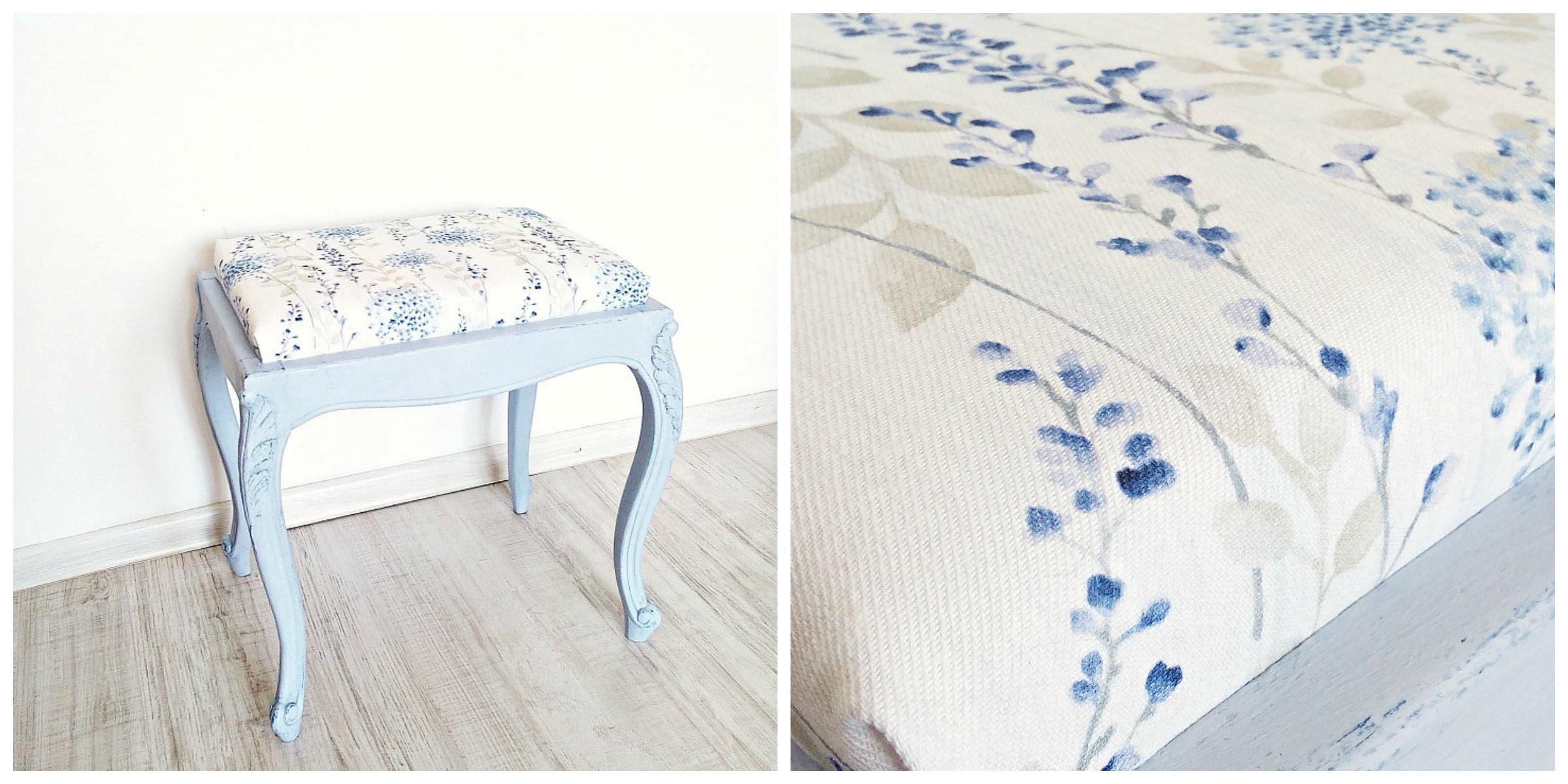 błękitna pufka malowana farbami kredowymi